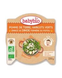 Babybio - Mon P'tit Plat - Pomme de Terre, Haricots Verts, Emincé de Dinde Fermière du Poitou